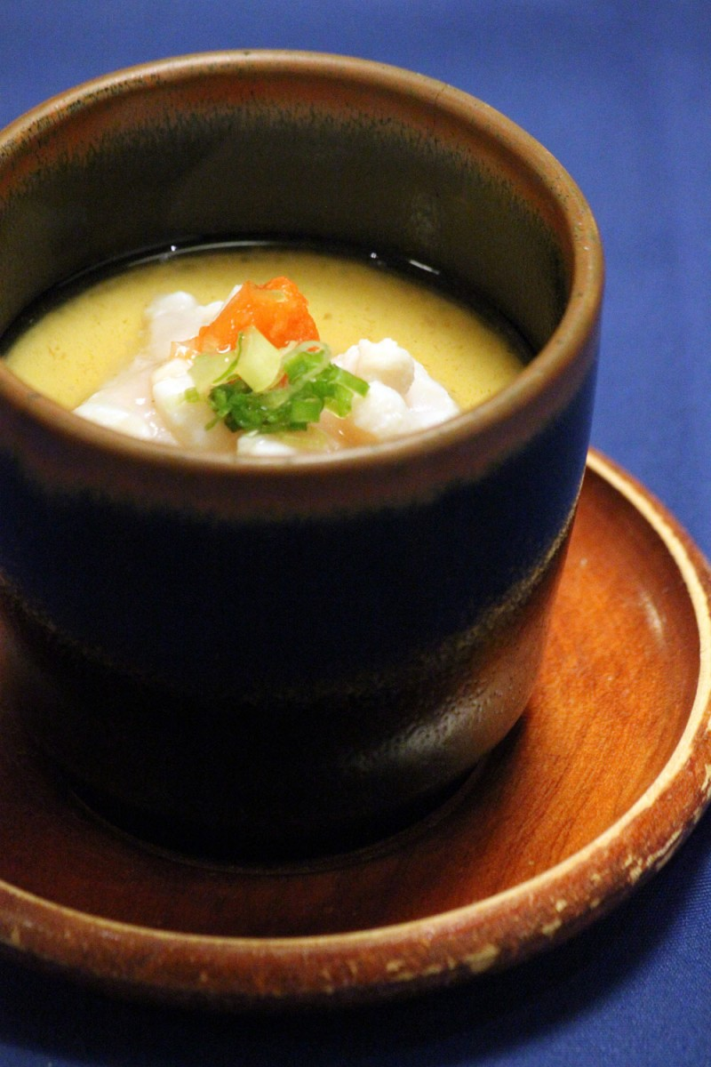 嵯峨野の季節限定メニュー 鱈の白子と柚子の茶碗蒸し