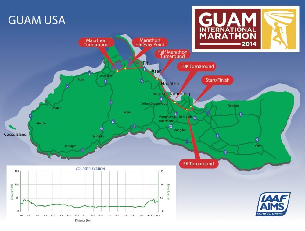 グアムインターナショナルマラソンのコースマップ