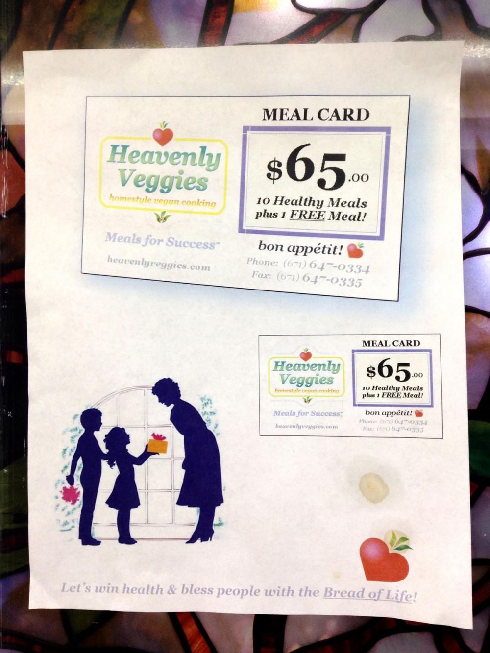 10食ぶんで1食分が無料になるミールカード($65.00) ベジタリアンレストラン「ヘブンリーベジース」