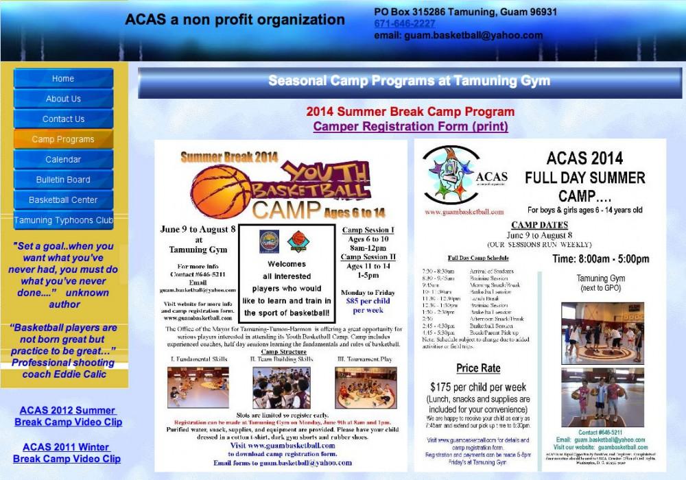 グアムのサマーキャンプ (ACAS a non profit organization)