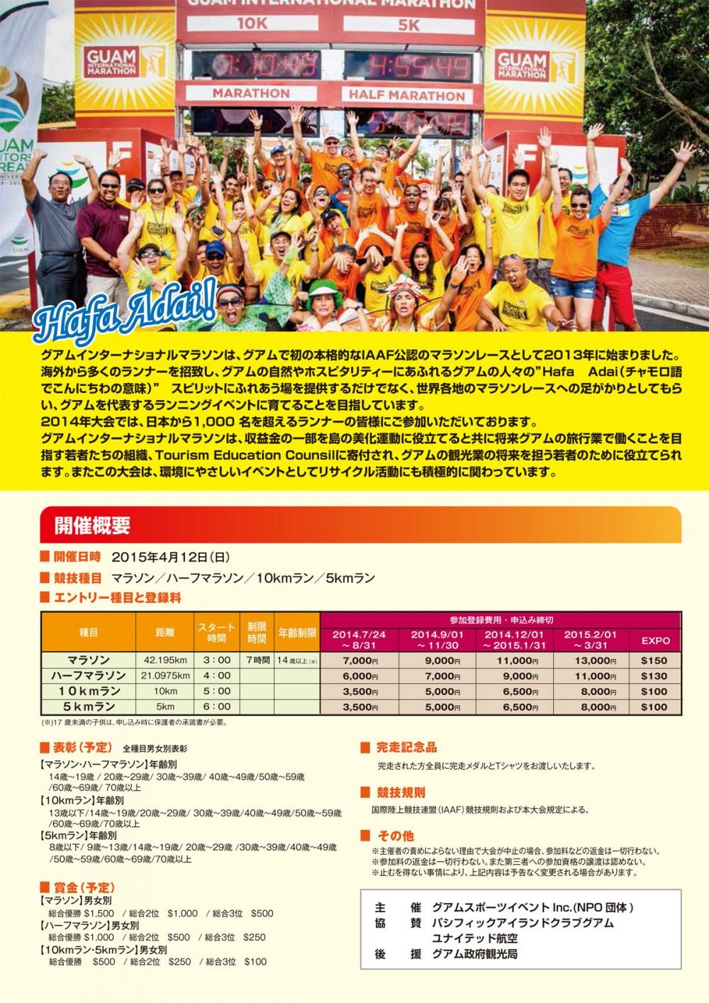グアムインターナショナルマラソン2015 開催概要