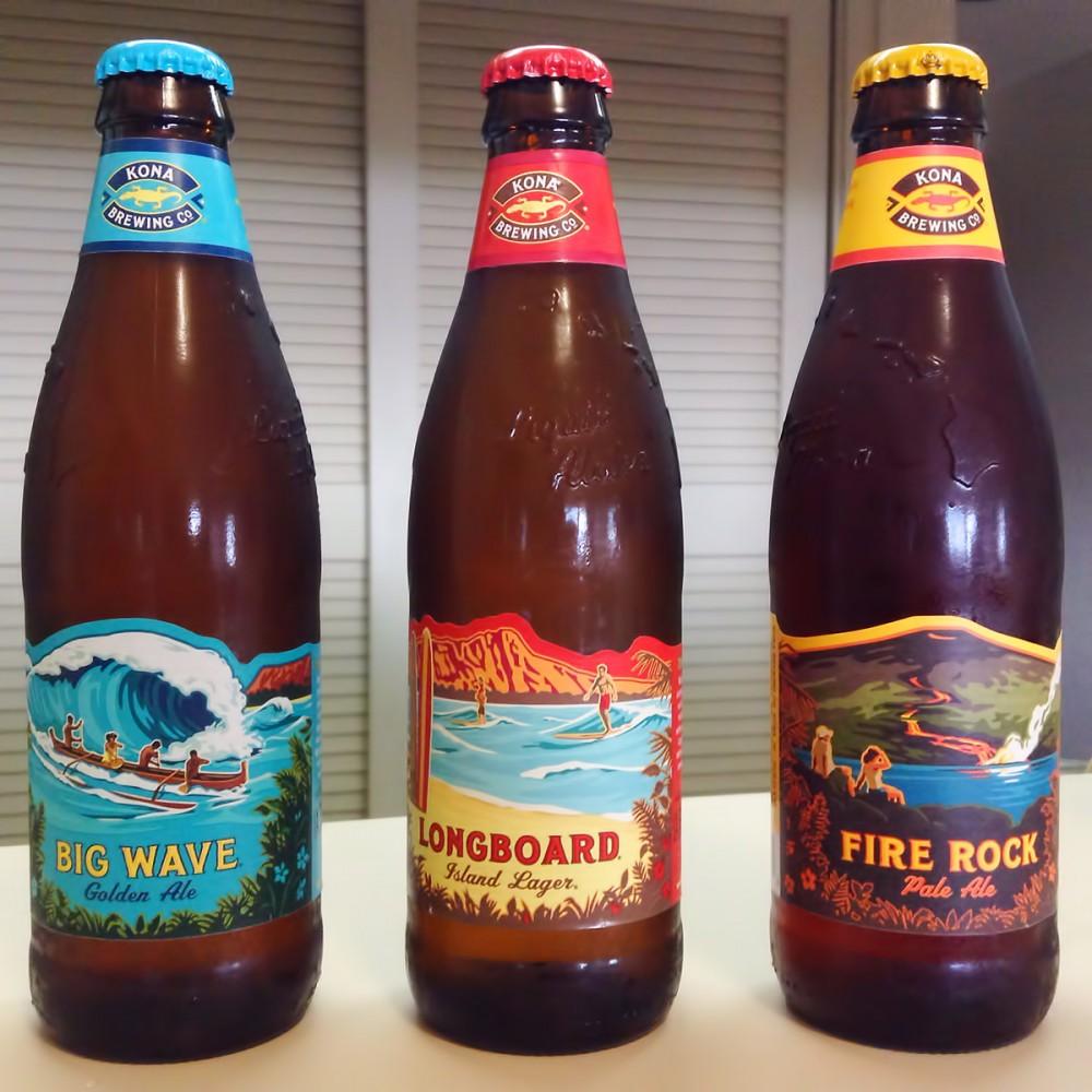 Kona BレウイングCo.のビール3種。それぞれ味がまったく異なります。