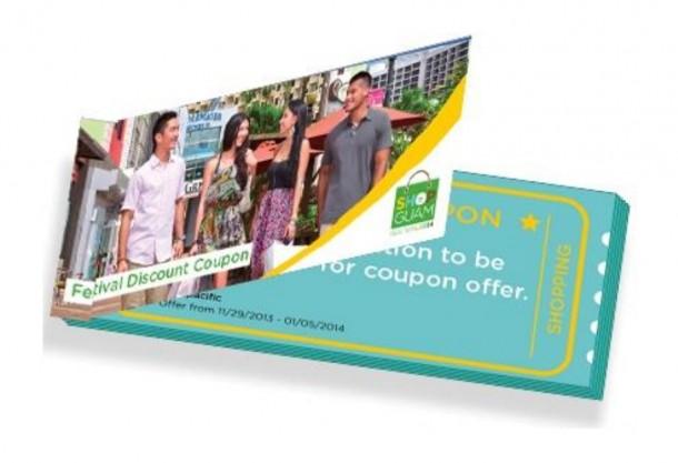 ディスカウントクーポンがまとめられた冊子が旅行代理店にて配布されます。ショップグアムフェスティバル2014