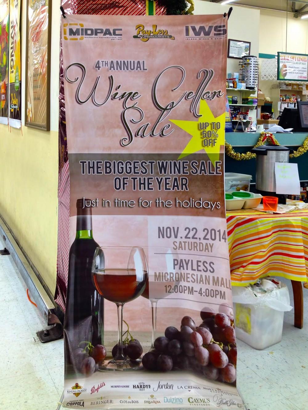 今年(2014年)で4回目を迎えるワインセラーセール (ペイレス マイクロネシアモール店)