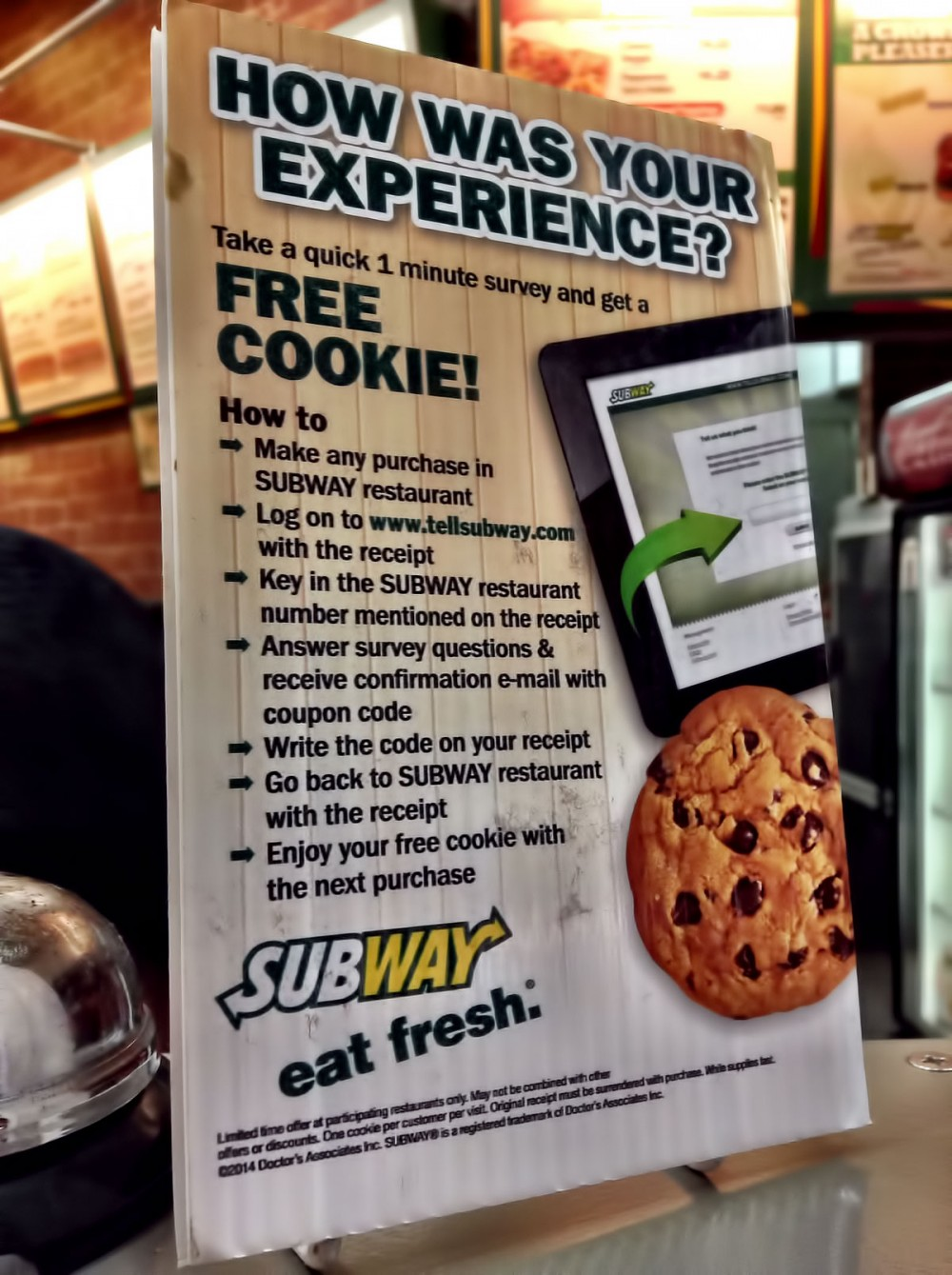 アンケートに答えてクッキーをもらおう! (サブウェイ マイクロネシアモール店)