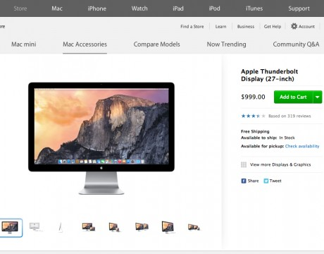 Apple - Thunderbolt Display アメリカ国内では$999.00