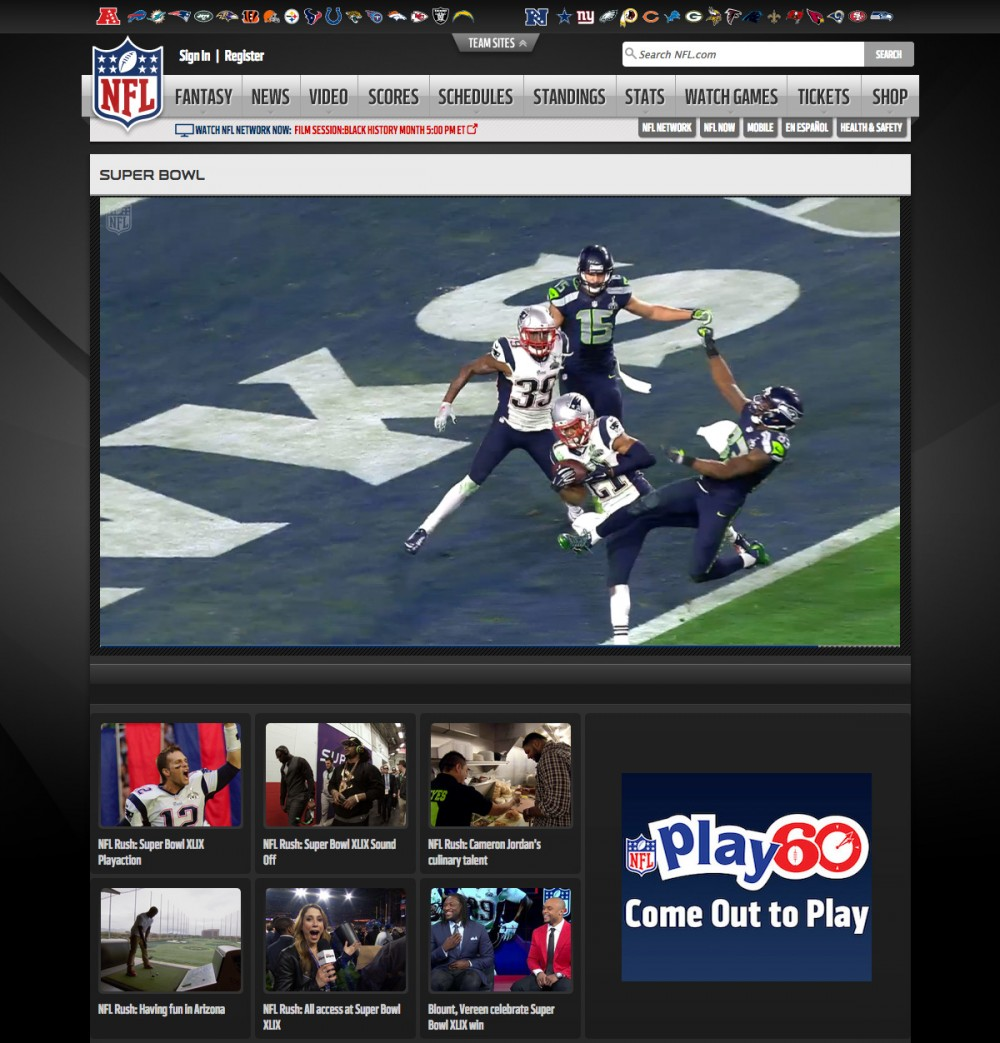 NFL Rush: Super Bowl XLIX Playaction - NFL Videos