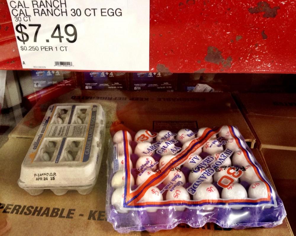 カリフォルニア産の卵 $7.49/30個 (コストUレス)