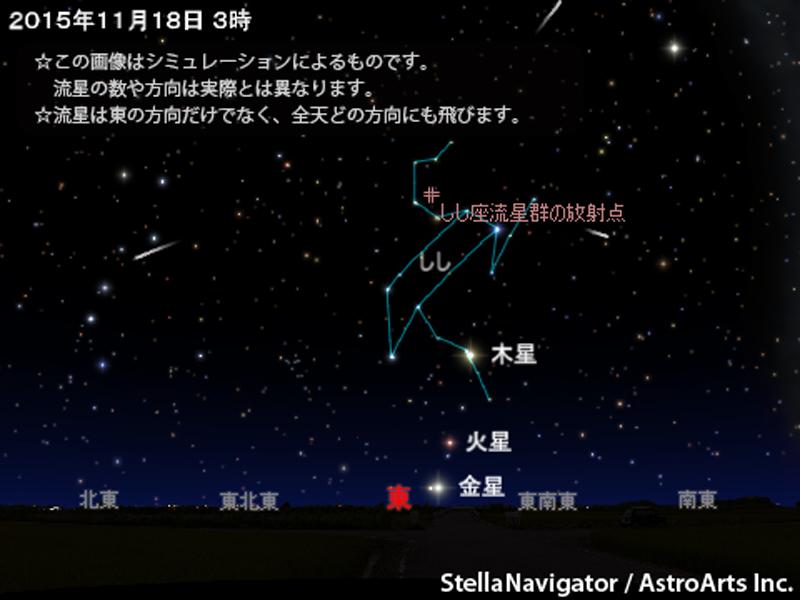 2015年11月18日は、しし座流星群の活動が極大に。