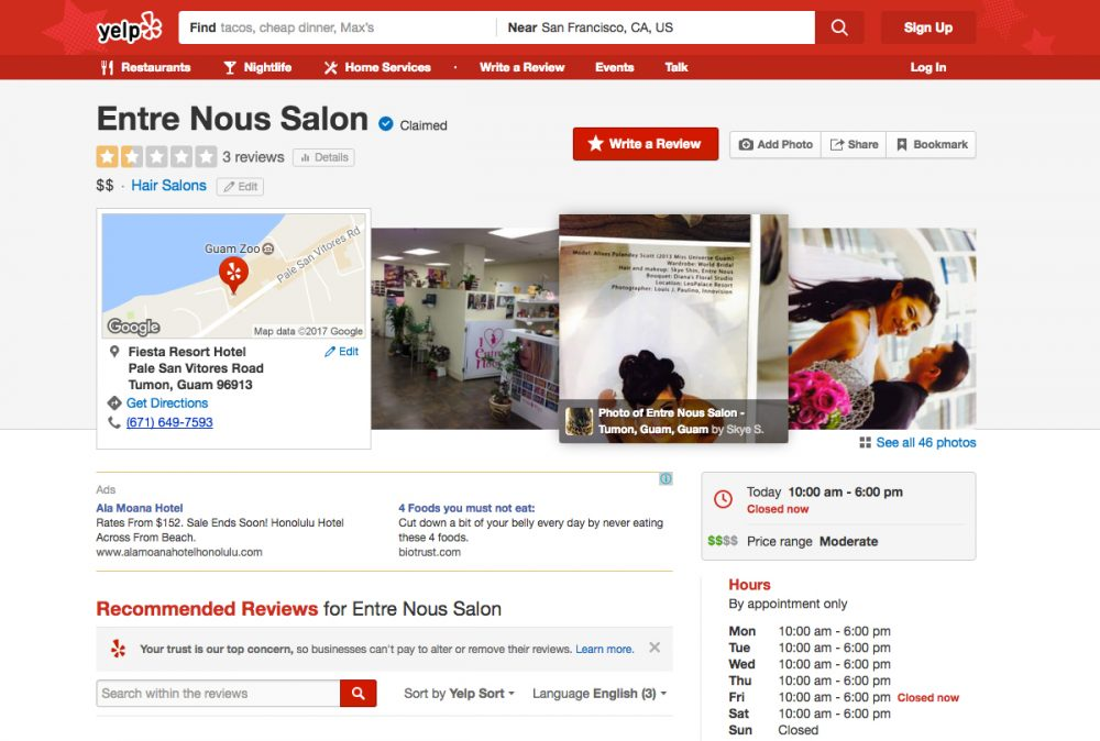 Entre Nous Salon (Yelp)