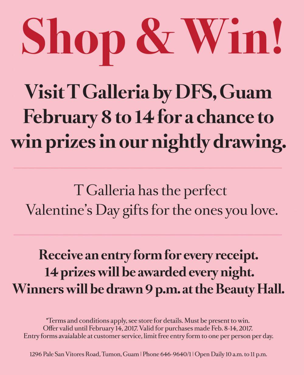 Shop&Win! バレンタインのショッピングがダブルで楽しめる、期間限定の特別イベント (Tギャラリアグアム)