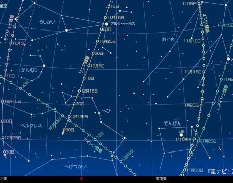 2013年12月15日午前5時の星空