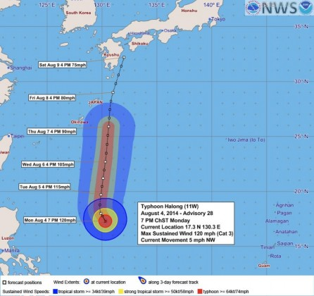 台風11号(Halong)